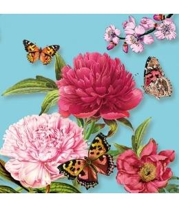 """Салфетка для декупажа """"Пионы и бабочки на бирюзовом"""", 33х33 см, Голландия"""
