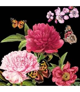"""Салфетка для декупажа """"Пионы и бабочки на черном"""", 33х33 см, Голландия"""