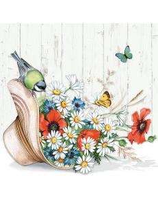 """Салфетка для декупажа """"Цветы в шляпке"""", 33х33 см, Голландия"""