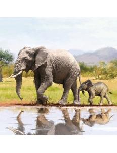 """Салфетка для декупажа """"Слониха со слоненком"""", 33х33 см, Голландия"""