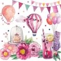 """Салфетка для декупажа """"Розовая вечеринка"""", 33х33 см, Голландия"""