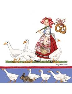 """Салфетка для декупажа """"Девушка и гуси"""", 33х33 см, Голландия"""