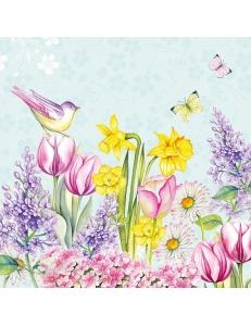 "Салфетка для декупажа ""Цветущий сад на бирюзовом"", 33х33 см, Голландия"