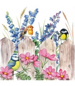 "Салфетка для декупажа ""Птицы на заборе"", 33х33 см, Голландия"
