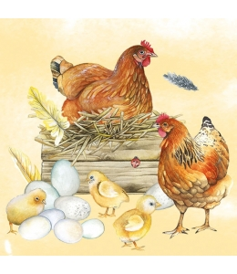 "Салфетка для декупажа ""Куры и цыплята"", 33х33 см, Голландия"