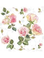 """Салфетка для декупажа """"Розы на белом"""", 33х33 см, Голландия"""
