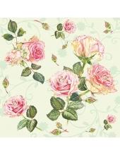 """Салфетка для декупажа """"Розы на салатовом"""", 33х33 см, Голландия"""