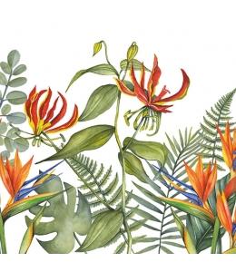 """Салфетка для декупажа """"Тропические цветы на белом"""", 33х33 см, Голландия"""