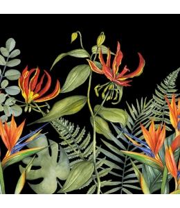 """Салфетка для декупажа """"Тропические цветы на черном"""", 33х33 см, Голландия"""