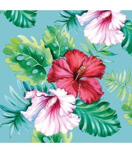 """Салфетка для декупажа """"Цветы гибискуса на голубом"""", 33х33 см, Голландия"""