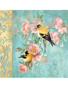 """Салфетка для декупажа """"Птицы и розы"""", 33х33 см, Голландия"""
