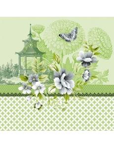 "Салфетка для декупажа ""Пагода на зеленом"", 33х33 см, Голландия"