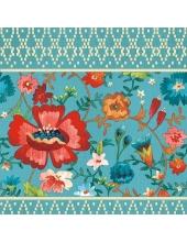 """Салфетка для декупажа """"Красный цветок на голубом"""", 33х33 см, Голландия"""