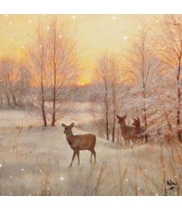 """Салфетка для декупажа """"Олени и зимний закат"""", 33х33 см, Ambiente (Голландия)"""