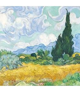 """Салфетка для декупажа """"Пшеничное поле с кипарисом, Ван Гог"""", 33х33 см, Голландия"""