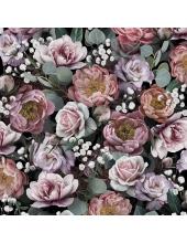 """Салфетка для декупажа """"Винтажные цветы на черном"""", 33х33 см, Голландия"""