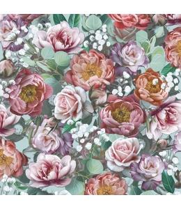 """Салфетка для декупажа """"Винтажные цветы на зеленом"""", 33х33 см, Голландия"""