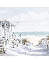 """Салфетка для декупажа """"Пляжный домик"""", 33х33 см, Голландия"""