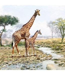 """Салфетка для декупажа """"Жирафы"""", 33х33 см, Голландия"""