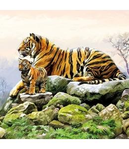 "Салфетка для декупажа ""Тигры"", 33х33 см, Голландия"