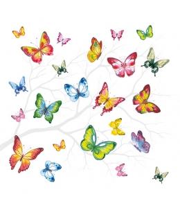 """Салфетка для декупажа """"Разноцветные бабочки"""", 33х33 см, Голландия"""