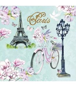 """Салфетка для декупажа """"Велосипед в Париже"""", 33х33 см, Голландия"""