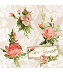 """Салфетка для декупажа """"Розы на кружеве"""", 33х33 см, Голландия"""