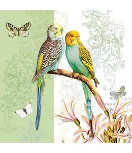 """Салфетка для декупажа """"Волнистые попугайчики на зеленом"""", 33х33 см, Голландия"""