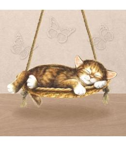 """Салфетка для декупажа """"Спящий кот"""", 33х33 см, Голландия"""