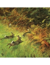 """Салфетка для декупажа """"Бегущие зайцы"""", 33х33 см, Голландия"""