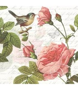 """Салфетка для декупажа """"Розы и птичка"""", 33х33 см, Голландия"""