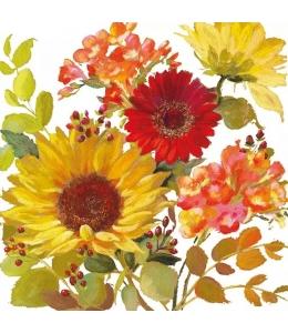 """Салфетка для декупажа """"Солнечные цветы, белый"""", 33х33 см, Голландия"""