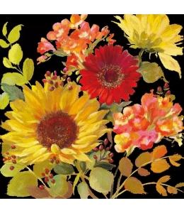 """Салфетка для декупажа """"Солнечные цветы черный"""", 33х33 см, Голландия"""