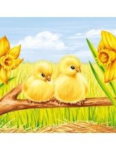 "Салфетка для декупажа ""Цыплята и нарциссы"", 33х33 см, Голландия"