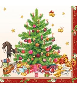"""Салфетка для декупажа """"Ностальгическая рождественская ёлка"""", 33х33 см, Ambiente (Голландия)"""