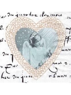 Салфетка для декупажа Ангел и сердце, 33х33 см, Ambiente