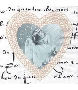 "Салфетка для декупажа ""Ангел и сердце"", 33х33 см, Ambiente"
