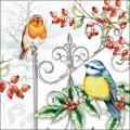 """Салфетка для декупажа """"Зимние птицы и шиповник"""", 33х33 см, Ambiente (Голландия)"""