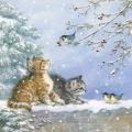 "Салфетка для декупажа ""Котята и птички"", 33х33 см, Ambiente (Голландия)"
