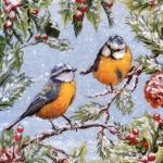 """Салфетка для декупажа """"Зимние птички на ветке"""", 33х33 см, Ambiente (Голландия)"""