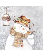 "Салфетка для декупажа ""Снеговик и малиновка"", 33х33 см, Ambiente (Голландия)"