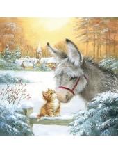 "Салфетка для декупажа ""Котёнок и ослик"", 33х33 см, Ambiente (Голландия)"