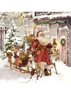 Новогодняя салфетка для декупажа Рождественский визит, 33х33 см, Ambiente Голландия