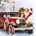 "Салфетка для декупажа ""Санта в автомобиле"", 33х33 см, Ambiente (Голландия)"