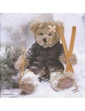 "Салфетка для декупажа ""Мишка с лыжами"", 33х33 см, Ambiente (Голландия)"