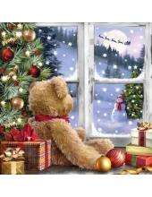 "Салфетка для декупажа ""Мишка Тедди у окна"", 33х33 см, Ambiente (Голландия)"