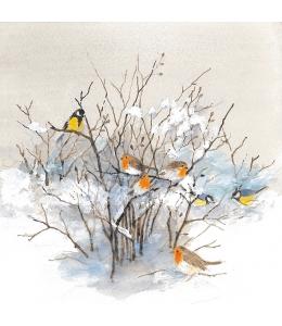 "Салфетка для декупажа ""Зимний куст и птицы"", 33х33 см, Ambiente (Голландия)"