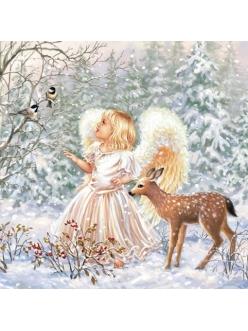 Новогодняя салфетка для декупажа Зимний ангел, 33х33 см, Ambiente Голландия