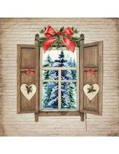 """Салфетка для декупажа """"Вид из зимнего окна"""", 33х33 см, Ambiente (Голландия)"""
