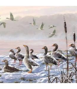 "Салфетка для декупажа ""Зимние гуси"", 33х33 см, Ambiente (Голландия)"